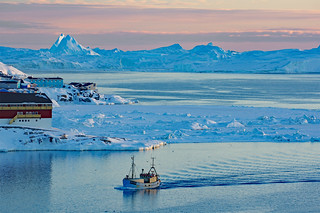 Twiligt along the west coast of greenland ..Ice in the background