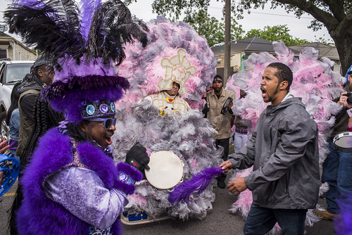 9th Ward Hunters Big Chief Romeo during Downtown Super Sunday on April 8, 2018. Photo by Ryan Hodgson-Rigsbee RHRphoto.com