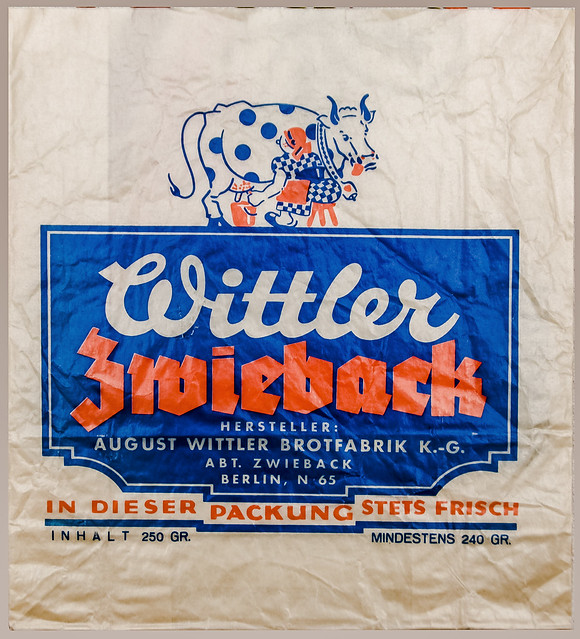 1926 Verpackung 'Wittler Zwieback' Berlin