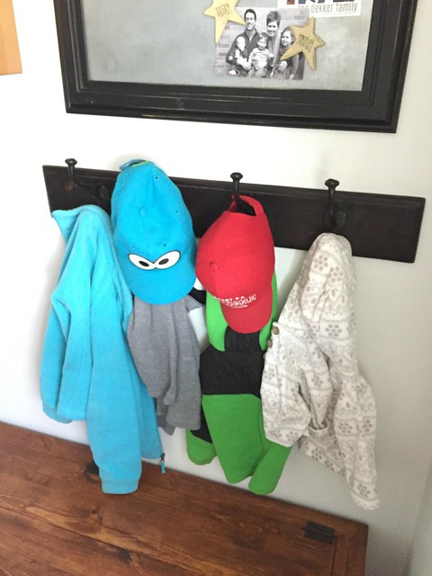 coat hooks to organize winter gear