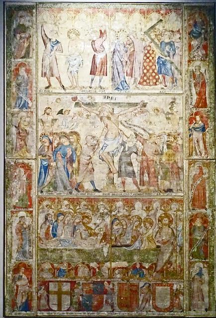 Pasion de Cristo crucifixion de Juan Oliver s. XIV del Refectorio de Catedral de Pamplona Museo de Navarra