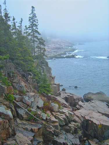 Even bad weather won't dampen the mood when you are surrounded by so much natural beauty! It is so peaceful to stand along the jagged #coastline of #AcadiaNationalPark looking out into the Atlantic Ocean! Where have you seen a coastline like this?http://t