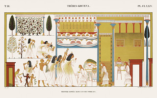 Copied paintings in one of the tombs from Monuments de l'Égypte et de la Nubie (1835-1845) by Jean François Champollion (1790-1832). Digitally enhanced by rawpixel.