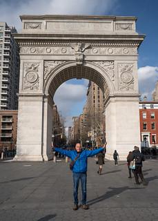 Leo at the Washington Square Arch   by nan palmero