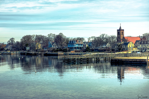 landscape seascape town city village newport rhodeisland ri churchstjohntheevangelist zabriskie water reflection clouds spring