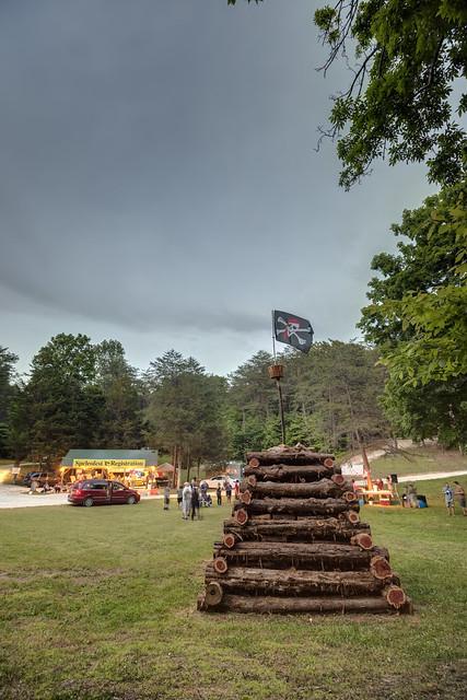 Wood pile, Speleofest, Hart County, Kentucky