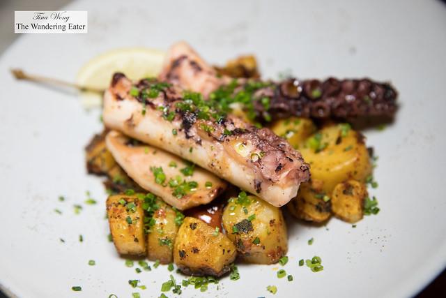 Portuguese octopus, fingerling potatoes, roasted tomato, harrisa, caper berry