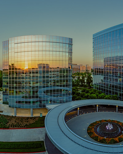 architecture building reflections sunset thewoodlands texas unitedstates us