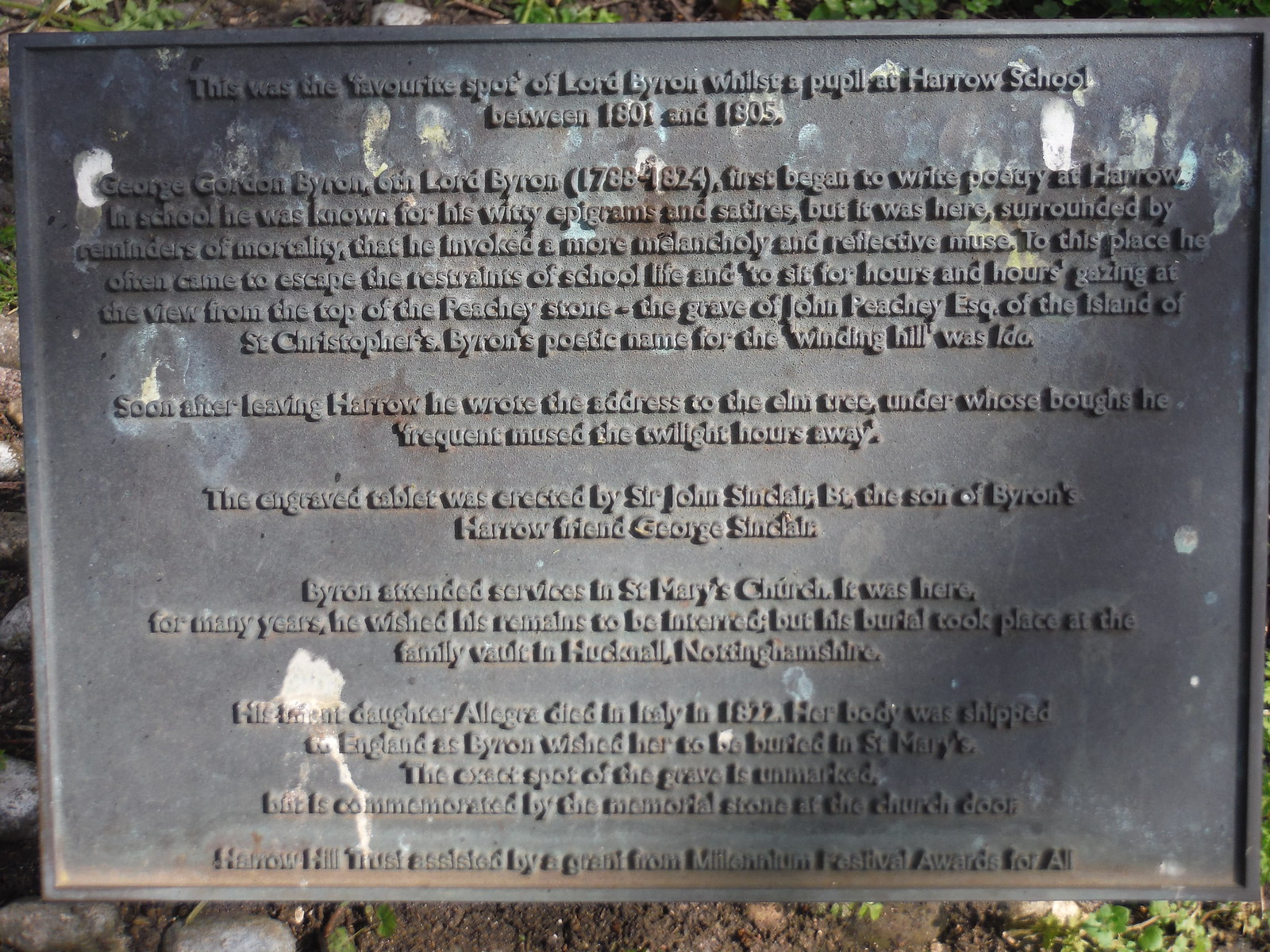 Plaque at Lord Byron's Favourite Spot SWC Short Walk 40 - Harrow-on-the-Hill (South Kenton or Northwick Park to Harrow-on-the-Hill)