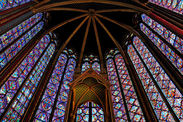 Stained glass interior of the Sainte Chapelle, Paris