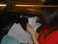 Kristin in cab keeping her exam script