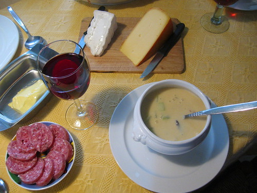 Cheddar-celery soup, cheeses & sausage