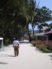 Walking on the white sand