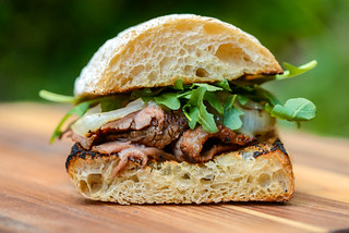 Marinated Flank Steak Sandwiches with Charred Onions
