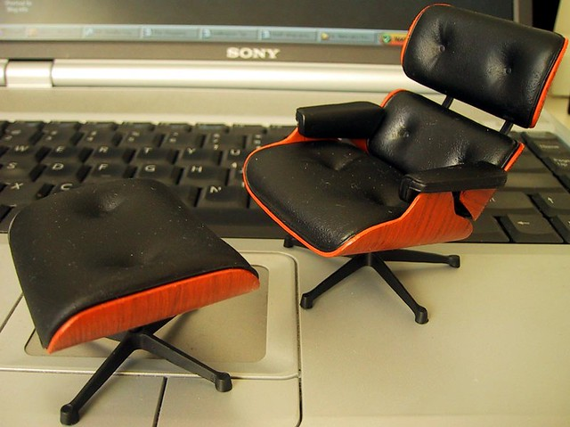 Miniature Eames Lounge Chair And Ottoman 1 12th Scale Chai