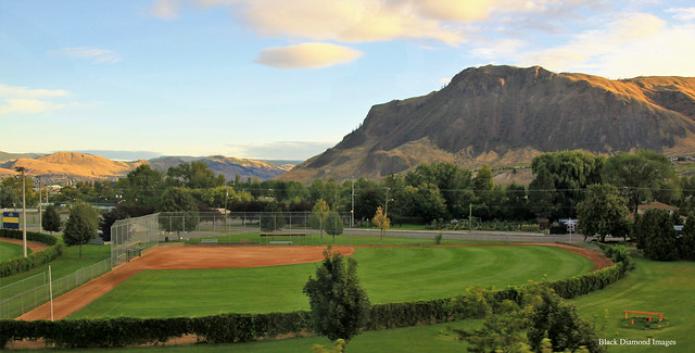 Charles Anderson Baseball Stadium, Exhibition Park, Kamloops from the Rocky Mountaineer - Leaving Kamloops enroute to Revelstroke, British Columbia, Lake Louise & Banff, Alberta, Canada