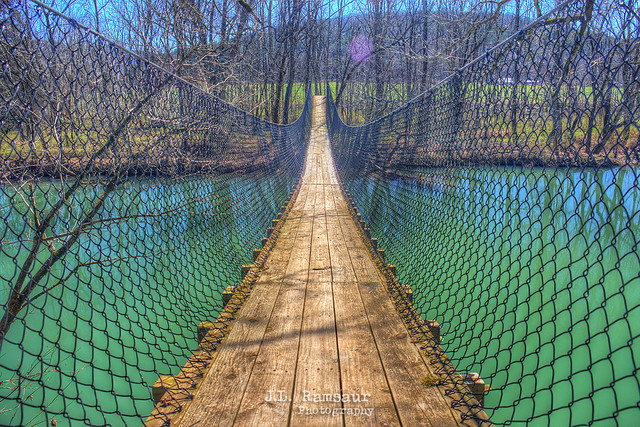 Swinging Bridge over the Wolf River - Sgt Alvin C York State Park