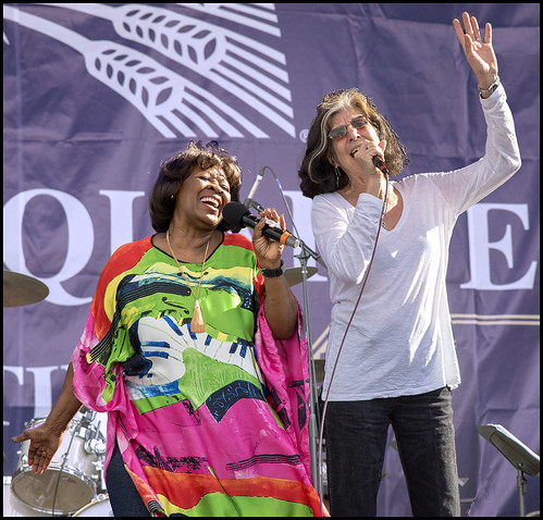 Irma Thomas and Marcia Ball on Day 1 of French Quarter Fest - 4.12.18. Photo by Marc PoKempner.