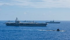Ships from the Indian Navy, Japan Maritime Self-Defense Force (JMSDF) and the U.S. Navy sail in formation during Malabar. (U.S. Navy/MC3 Erwin Jacob V. Miciano)