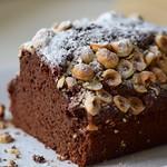 Chocolate coffee cake with hazelnuts
