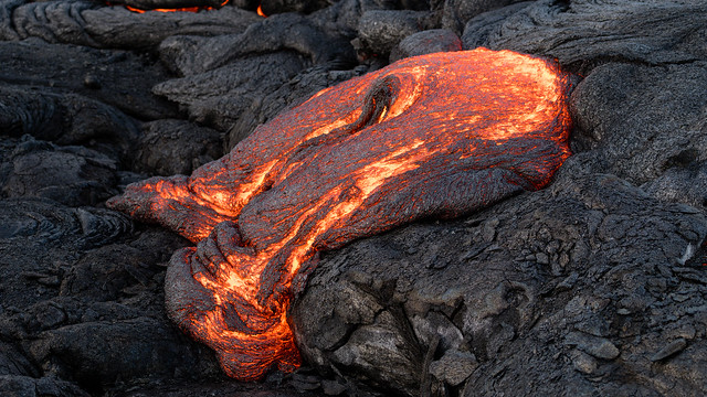 Glowing Lava at Kilauea Vulcano, Big Island, Hawaii