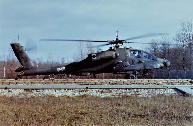 AH-64A 89-0256 (90256) 1-229Avn U.S.Army. Forward Refuelling Point (FRP) Banja Luka/ Metal Factory. Bosnia, February 2001. With SFOR, Stabilisation Force in Bosnia and Herzegovina markings.