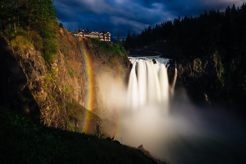 snoqualmiefalls waterfall longexposure twinpeaks rainbow sunset evening trees light washington snoqualmie pacificnorthwest canoneos5dmarkiii canonef2470mmf28lusm bwnd1000x johnwestrock wallpaper background