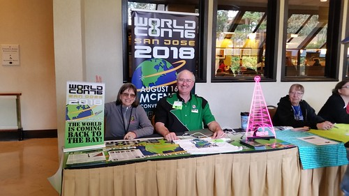 Worldcon 76 table at Norwescon | by KevinStandlee