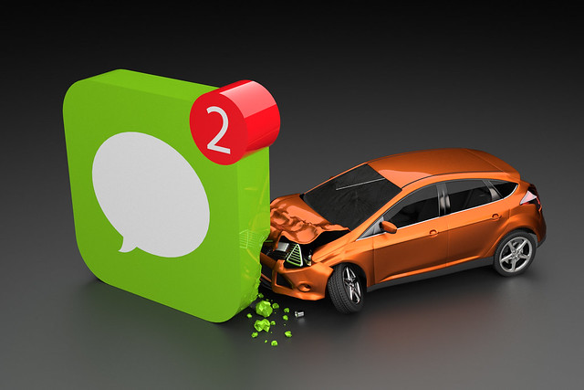 Texting while driving collision concept