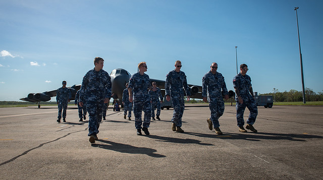 US, Australian service members tour a U.S. Air Force B-52H Stratofortress during a visit to RAAF Base Darwin