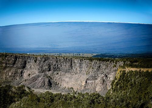 hawaii hawaiivolcanoesnationalpark kīlaueassummitcrater cliffs kīlauea maunaloa crater wall active trees wyojones np