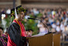 The University of Hawaii at Hilo celebrated spring 2018 commencement on Saturday, May 12, 2018 at the Edith Kanakaole Stadium. UH Hilo student speaker Matthew Ruiz Jr.  Photo credit: Everette Ganir