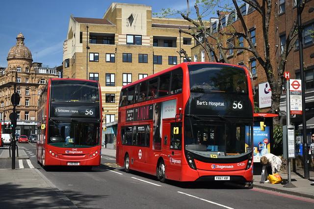 Bartholomew & Bart || *RARE* Stagecoach London: 12429 | YX67VBF || 12140 | LX61DDO || 56: Whipps Cross - St Bartholomew's Hospital