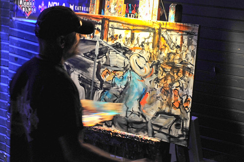 Frenchy's Jon Cleary painting in progress at WWOZ's 30th Annual Piano Night - April 30, 2018. Photo by Michael E. McAndrew Photography.