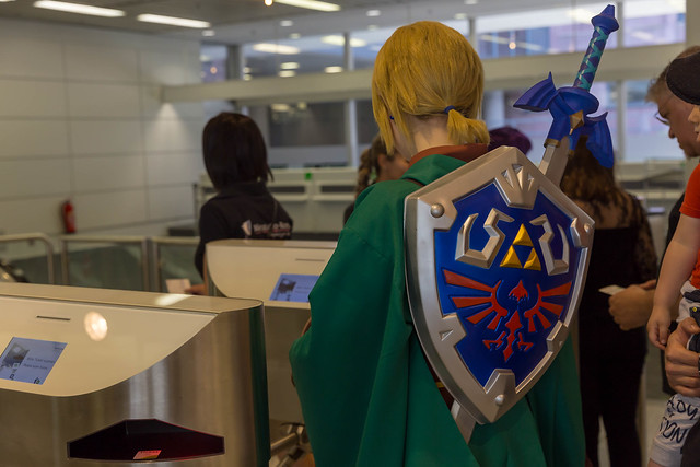 Cosplayer clad as Link from The Legend of Zelda