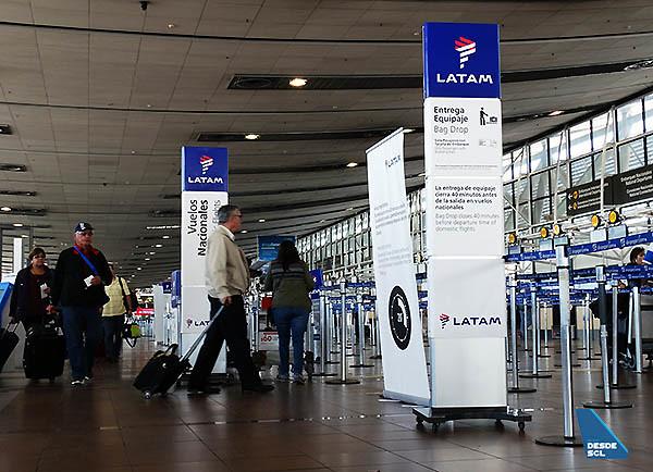 LATAM pasajeros ingreso check-in doméstico SCL (RD)