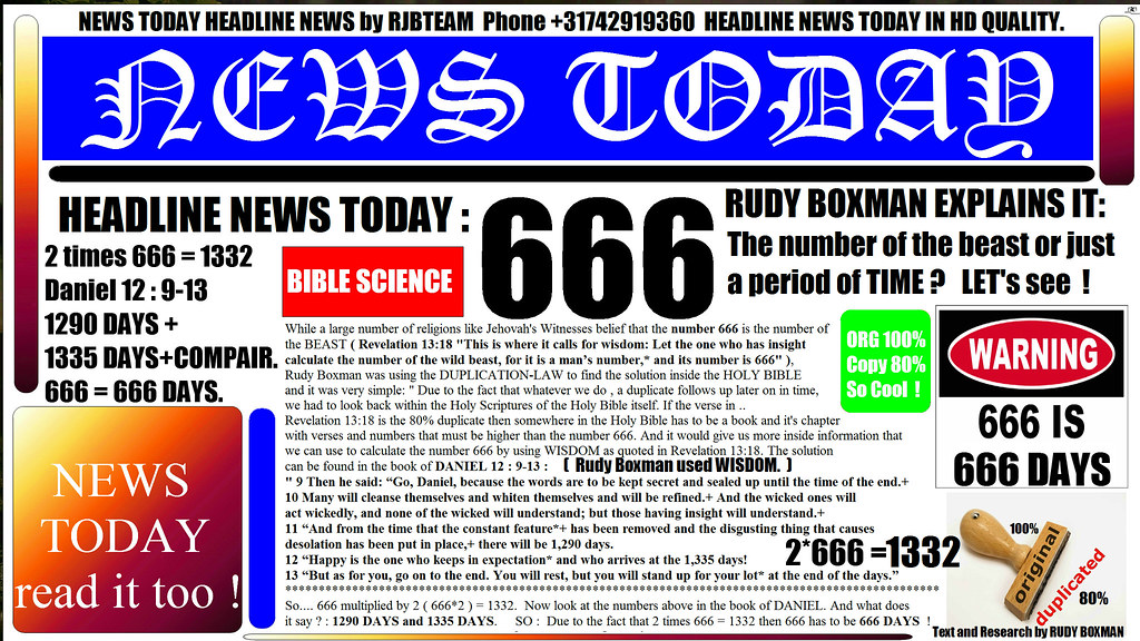 THE NUMBER OF THE BEAST 666 | IN NEWS TODAY : RUDY BOXMAN EX
