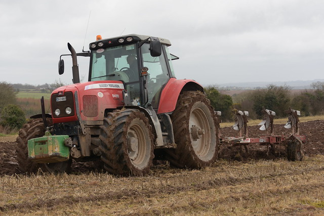 Massey Ferguson 6499 Tractor with a Gregoire Besson 5 Furrow Plough