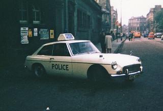 MG BGT RSC 109H,Edinburgh City Police Traffic Dept. Brandon St. Garage circa 1971 | by landshark2084