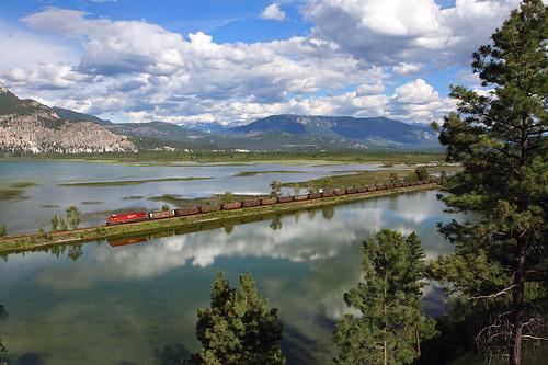 canadianpacific cp coaltrain unittrain causeway canalflats britishcolumbia canada train railroad locomotive relection clouds trees bc 8743 ge es44ac
