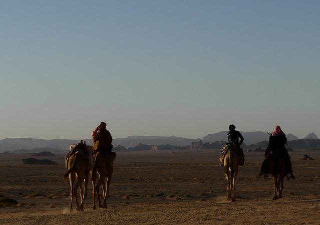 Jordan Wadi-Rum Beduins in sunset