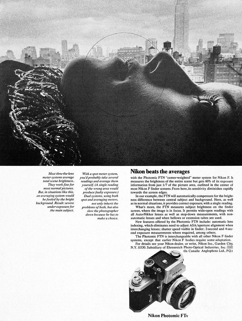Nikon Photomic FTN camera advertisement.