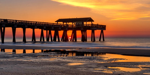 tybeeisland ocean sunrise beach pier atlantic reflections puddle savannah