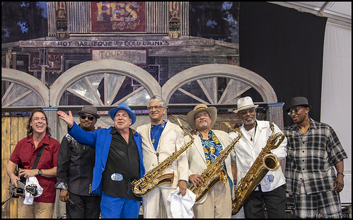 Mitch Woods & His Rocket 88s on Day 3 of Jazz Fest - April 29, 2018. Photo by Marc PoKempner.