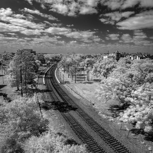 usa landscape hires tracks ©edrosack panorama florida infrared building cloud buildingandarchitecture olympus sky winterpark train blackandwhite cityscape centralflorida bw cloudy ir edrosackcom