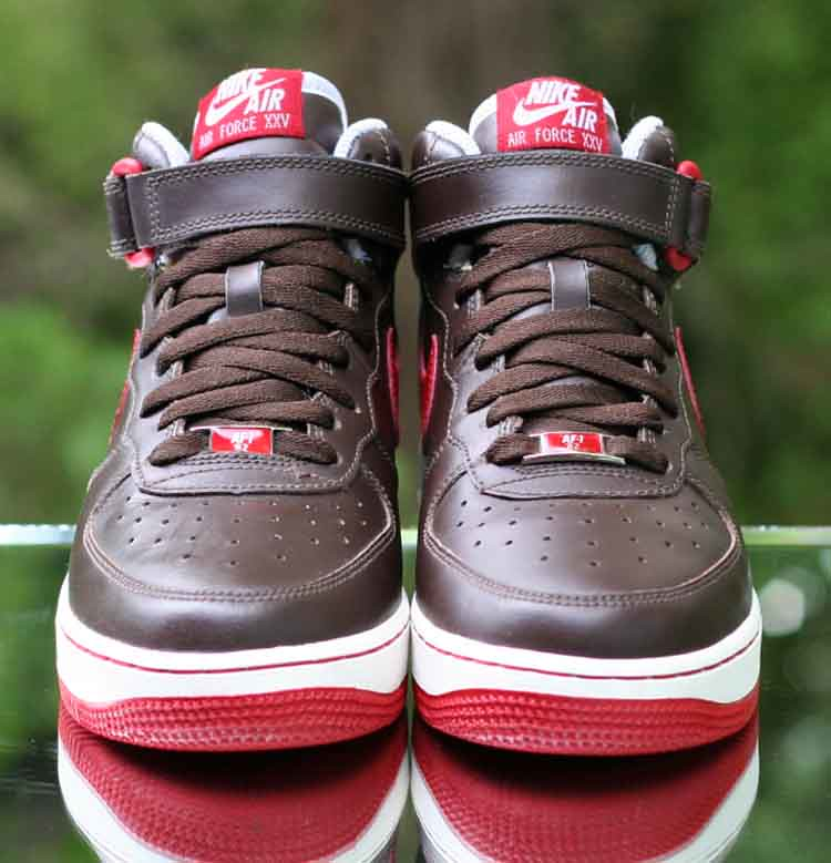 size 40 f5a14 7843a ... Nike Air Force 1 Mid GS XXV Baroque Brown Varsity Red Retro 314195-261  Size