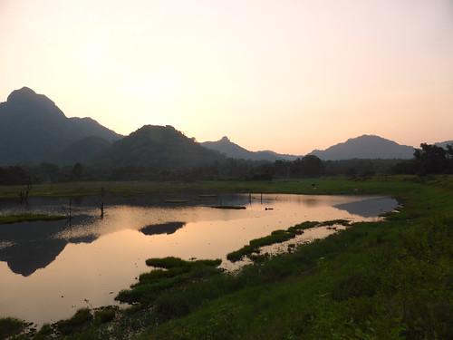 sri lanka landscape scenery beautiful asia lake sunset gal oya reflections reflection ceylon srilanka orange mountain sky water grass horizon