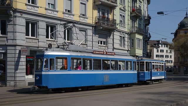 Tram Museum Zürich - Ce 4/4 1392 mit Zweiachsanhänger beim Bahnhof Wiedikon
