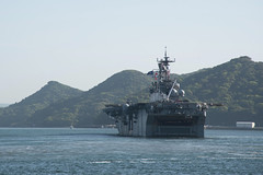 USS Bonhomme Richard (LHD 6) departs Sasebo, April 18. (U.S. Navy/MC2 Jordan Crouch)