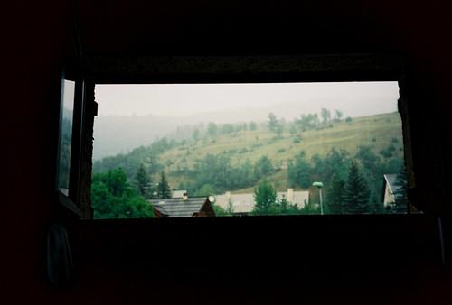 olympus xa3 kodak ektar france alpes window hill mountain trees grass green nature view saintchaffrey
